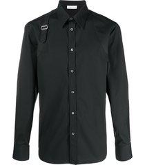 alexander mcqueen strap-detail shirt - black