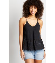 maurices womens black eyelet lace bottom tank top