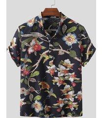 incerun hombres vacaciones de verano playa cuello alto pájaro animal floral camisa