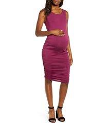women's angel maternity sleeveless body-con maternity dress, size large - red