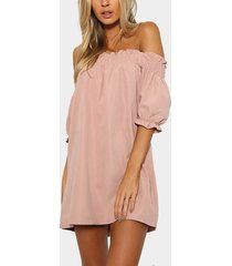 off-the-shoulder mini dress in pink