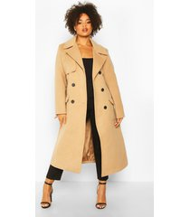 plus getailleerde long line jas met ceintuur, camel