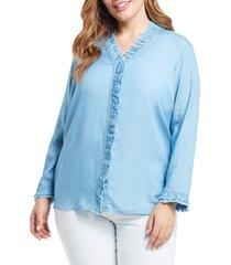 plus size women's nic+zoe ruffled-up denim shirt, size 3x - blue