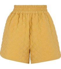 silk yellow quilted shorts