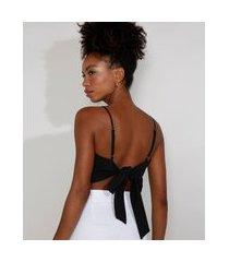 top cropped feminino mindset com amarração alça fina decote reto preto