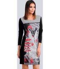 jersey jurk alba moda zwart::rood::grijs