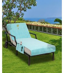 linum home standard size chaise lounge cover with side pockets embroidered with palm tree bedding