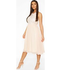 boohoo occasion sequin midi dress, nude