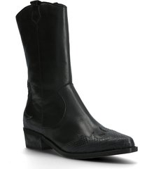 biadelora western long boot höga stövlar svart bianco