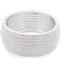 adriana orsini women's crystal multi-row bracelet - silver