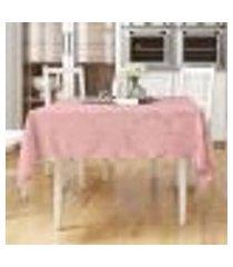 toalha mesa rosê lisa medalhão quadrada 1,40m x 1,40m tecido jacquard
