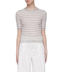 stripe cashmere rib knit top