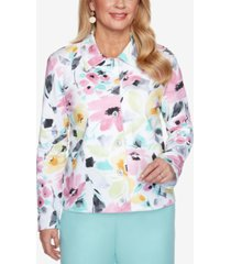 alfred dunner petite classics brushstroke floral-print jacket