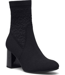 th knitted mid heel boot shoes boots ankle boots ankle boot - heel svart tommy hilfiger