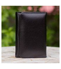 leather trifold wallet, 'infinite black' (thailand)