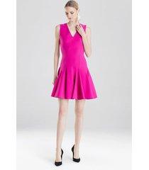 knit crepe flare dress, women's, pink, size 6, josie natori