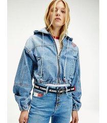 chaqueta vaquera con capucha azul tommy jeans