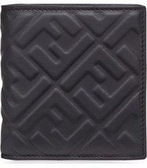 fendi slim leather wallet - black