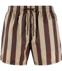fendi striped swim shorts - brown