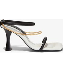 proenza schouler square padded chain sandals - 90mm nero/neve 40