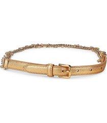 dolce & gabbana women's embellished leather & suede belt - gold - size l