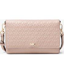 mk borsa a tracolla convertibile in pelle con logo impresso - rosa tenue (rosa) - michael kors