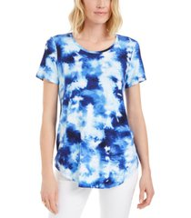 jm collection printed scoop-neck t-shirt, created for macy's