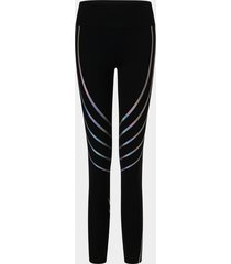 negro láser imprimir leggings de cintura alta