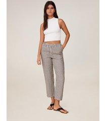 linnen straight-fit broek