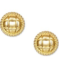 charter club gold-tone quilted circle stud earrings, created for macy's