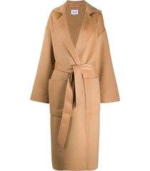 nanushka long sleeve alamo belted coat - neutrals