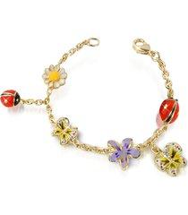 az collection designer bracelets, garden line - enamel gold plated charm bracelet