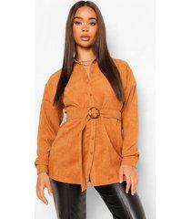 oversized corduroy blouse met ceintuur, geelbruin