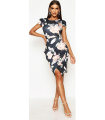 asymmetric peplum floral print midi dress, multi