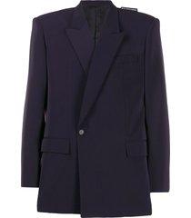 balenciaga square-shoulder blazer jacket - blue