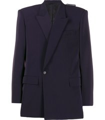balenciaga square-shoulder blazer jacket - blue