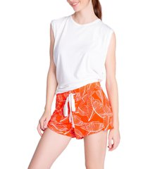 women's pj salvage leaf dreams jersey pajama shorts, size x-small - red