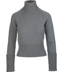fedeli woman high neck pullover in antique green cashmere