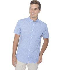 camisa manga corta estampada - azul