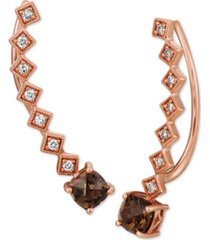 le vian chocolate quartz (9/10 ct. t.w.) & nude diamonds (1/5 ct. t.w.) ear climber earrings in 14k rose gold