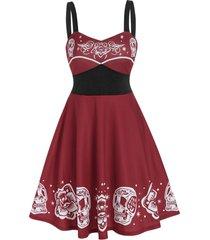 floral skull print empire waist gothic cami dress