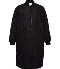 carcarrot ls long quilted jacket doorgestikte jas zwart only carmakoma