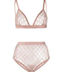 gucci gg lace lingerie set - pink
