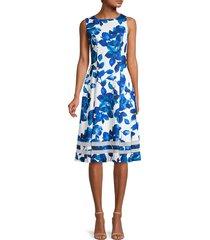 calvin klein women's sleeveless floral dress - blue white combo - size 4
