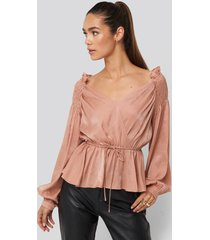na-kd party smock shoulder drawstring blouse - pink