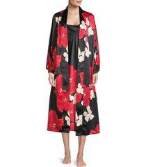 natori women's 2-piece floral robe & chemise set - black multi - size xs