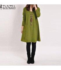 vestido casual con manga larga zanzea para mujer-verde