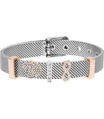 bracciale maglia milanese in acciaio bicolore e strass con infinito e cuore per donna