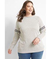 lane bryant women's 7 graphic sweatshirt 34/36 heather gray