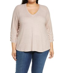 plus size women's bobeau cozy ruched sleeve swing top, size 1x - pink